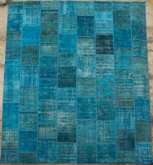 "AVL Vintage Turkish Teal Over Dye Patchwork Rug, 9'8"" X 13'"