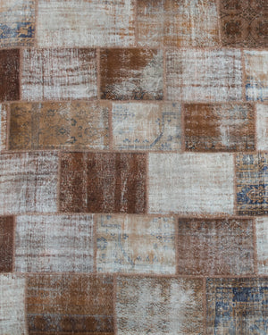 Vintage Turkish Large Brown Patchwork Rug, 14' x 15'