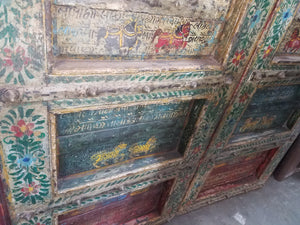 Antique Indian folk art painted teak wood interior doors