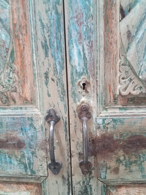 Antique Indian painted teak wall armoire