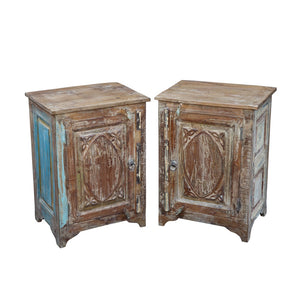 Indian nightstand/bedside cabinet made from antique door panels and reclaimed teak (a)