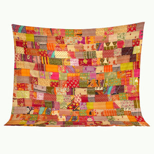 "Indian vintage kantha patchwork blanket, 108"" x 90"""