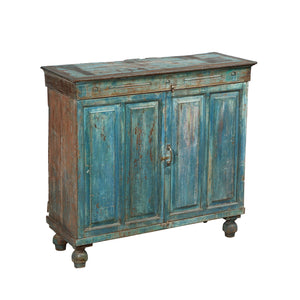 Vintage Anglo-Indian buffet cabinet in old blue paint finish