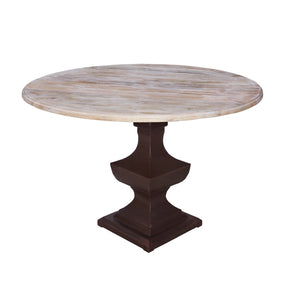 Indian Whitewashed Mango Round Table on an Iron Pedestal 3
