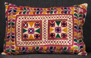 "Vintage Indian Textile made into pillow 19"" x 13"""