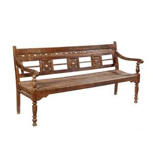 Vintage Indian teakwood garden bench