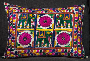"Vintage Indian Textile made into pillow - 22"" x 16"""