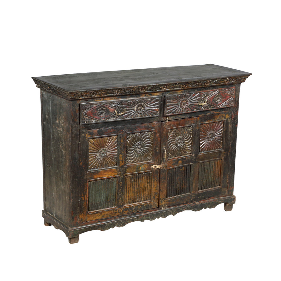 Antique Indian teak wood buffet, the doors with architectural carving - Antique Indian Teak Wood Buffet, The Doors With Architectural