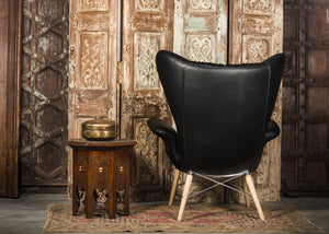 HE389-3 Tufted Wingback Chair in Black PU Leather TX1051