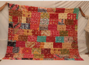 Indian Sari Kantha Cotton King Quilt