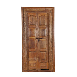 Antique Anglo-Indian style teak interior door and frame from a Rajasthan Haveli