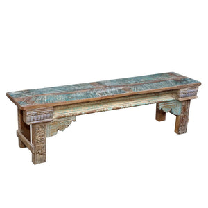 Indian recycled Teak Bench made from antique architectural components #4 medium