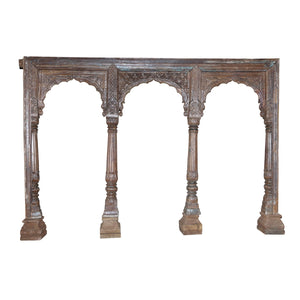 Antique Indian carved teak wood triple arch from a Rajasthan Haveli