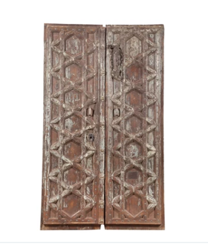 Antique Indian teak wood pair of doors