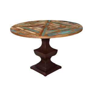 Indian Reclaimed Teak Round Table with an iron base#4