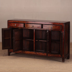 Antique Chinese lacquered elm buffet cabinet