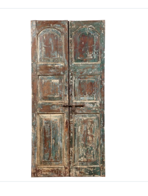 Antique Anglo-Indian teak wood pair of doors from a Rajasthan Haveli