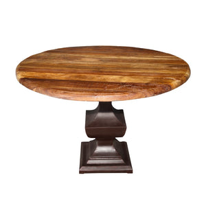 Indian Reclaimed Teak Round Table on an iron pedestal base