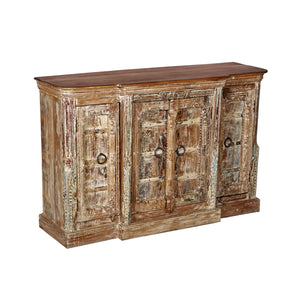 Teak wood buffet/cabinet made from antique architectural components, India