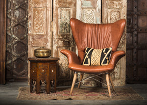 HE389-3 Tufted Wingback Chair in Brown PU Leather TX4205