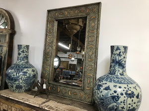 Vintage Moroccan mirror with incised decoration and bone inlay