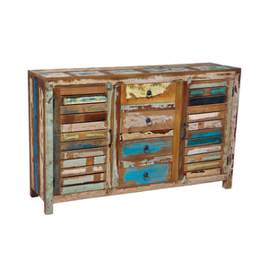 Indian Wooden 2-Door, 4-Drawer Side Board