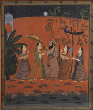 Vintage Indian Mughal style Folk Painting On Textile, 42'' high, 35 1/2'' wide.