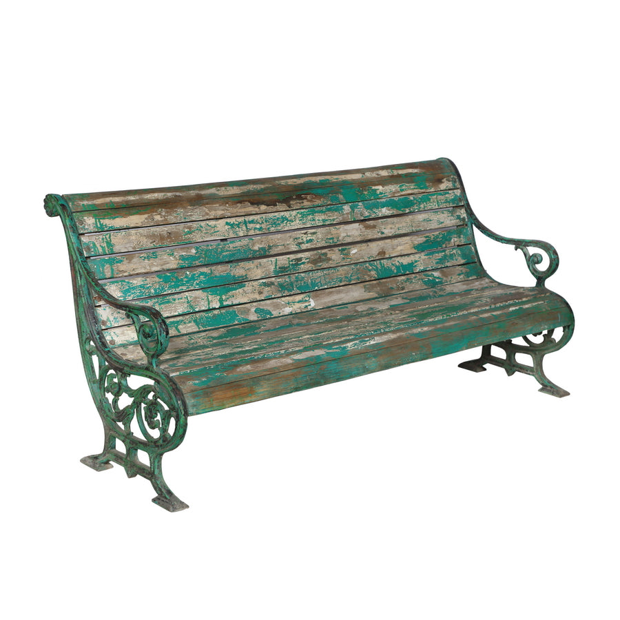 Charmant Vintage Indian Teak Wood And Cast Iron Garden Bench