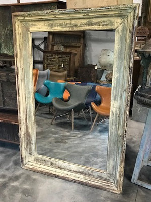 Vintage Indian large painted teak mirror frame