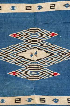 Antique Mexican Blanket/Tapestry, c. 1920-30. Classic design with eight pointed star in each corner. Woven on narrow loom in two pieces and put together with central seam. Size: 71'' x 54''