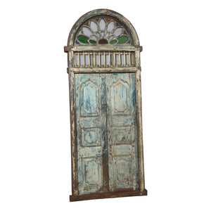 Antique Indian entry door w/ fanlight in the Portuguese colonial style, Goa region