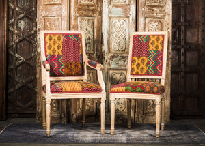 Neoclassic Limed Oak Dining Chairs in New Kantha - 2 Side chairs only available