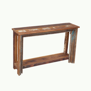 Indian carved teak console table