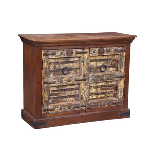 Indian Cabinet constructed from antique door components and recycled teak