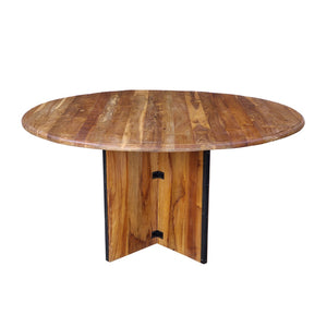 Indian Teak wood Round Table with cross frame base