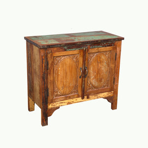 Indian teakwood nightstand made from antique doors and reclaimed wood -7