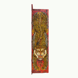 Antique Indian door painted with a tiger in the Tibetan style
