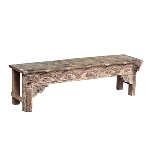 Indian painted teak wood bench