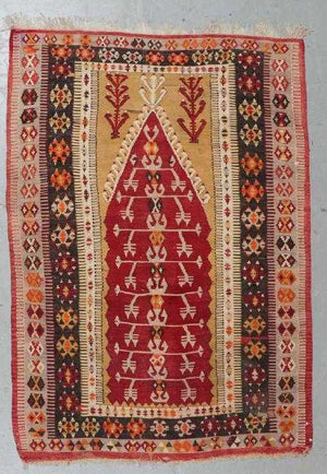 AVL  Semi-Antique Turkish Obruk Prayer Kilim rug,