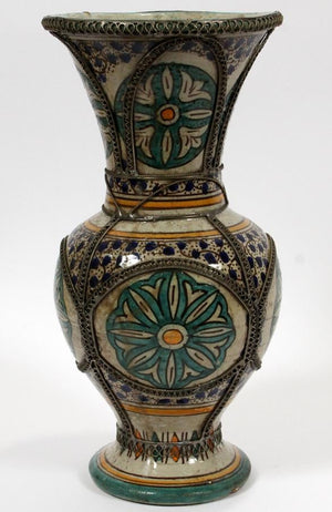Vintage Moroccan  pottery vase with metal filigree