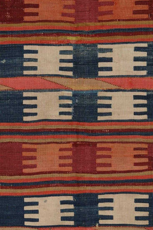 AVL Antique Turkish West Anatolian Kozak Kilim rug,  4'11'' x 10'6""