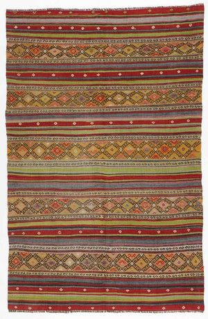 AVL Semi-Antique Anatolian Kilim, Turkey: 5'3'' x 8'1''