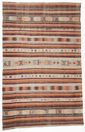AVL Semi-Antique Anatolian Kilim, Turkey: 5'11'' x 9'2''