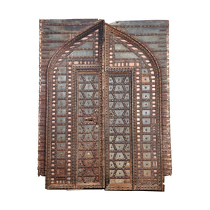 "Antique Indian ""fortress"" door and frame from a Rajasthan haveli compound"