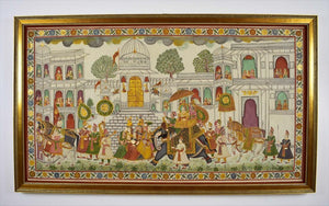 Indian Batik Painting on Silk 20th Century. Depicting a royal procession with a  Prince riding an elephant, dignitaries alongside. 32.5 x 56