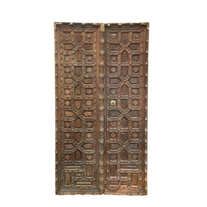 Antique Indian Carved Teak wood pair of doors