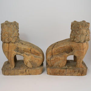 A Pair of Vintage Chinese Carved Elm Foo Lions