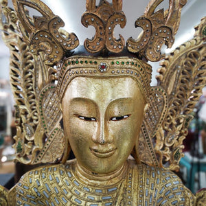 Vintage Thai Gilt and Lacquered wood standing Buddha figure