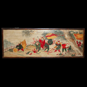 Antique Chinese Painted Wood Panel of children