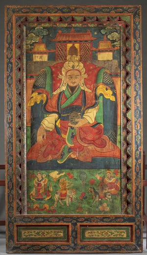 Antique Tibetan polychrome decorated panel